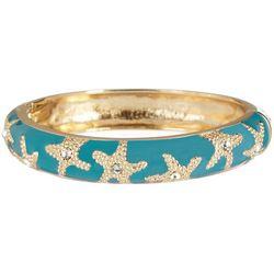 Bay Studio Aqua Blue Gold Tone Starfish Bangle Bracelet