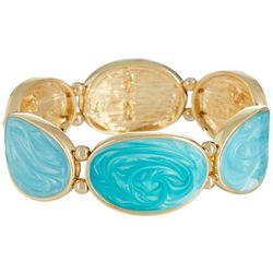 Bay Studio Aqua Blue Enamel Oval Stretch Bracelet