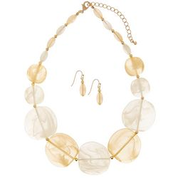 Bay Studio Natural Beige Resin Earrings & Necklace Set