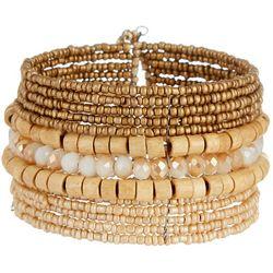 Bay Studio 12 Row Wood & Seed Bead Cuff Bracelet