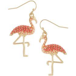 Bay Studio Gold Tone Beaded Pink Flamingo Dangle Earrings