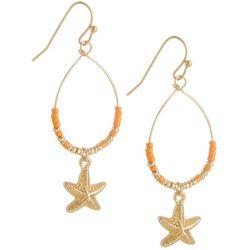 Bay Studio Gold Tone Starfish Seed Bead Dangle Earrings