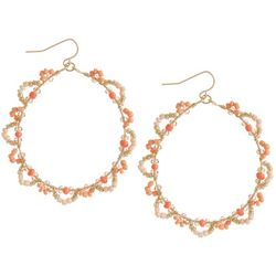 Bay Studio Gold Tone Beaded Floral Hoop Earrings