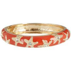 Bay Studio Coral Gold Tone Starfish Hinged Bangle Bracelet