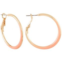 Coral Bay Coral Enamel Hoop Earrings