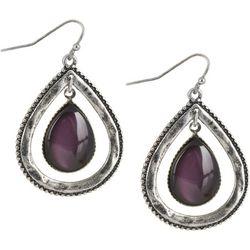 Bay Studio Purple Smooth Stone Teardrop Drop Earrings