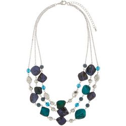 Bay Studio 3 Row Teal Blue Shell Nuggets & Beaded Necklace