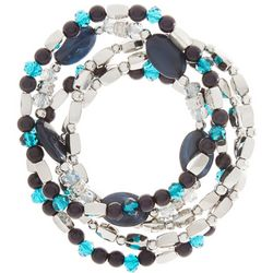 Bay Studio Blue & Silver Tone Beaded Stretch Bracelet