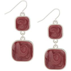 Bay Studio Red & Silver Tone Double Square Earrings