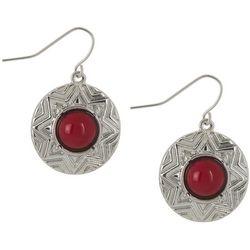 Bay Studio Silver Tone & Red Medallion Disc Drop Earrings