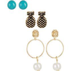 Bay Studio Pineapple Stud & Faux Pearl Drop Earring Set