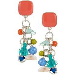 Bay Studio Beaded Tassel Square Post Top Dangle Earrings