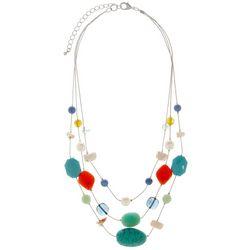 Bay Studio 3 Row Beads & Shells Silver Tone Necklace