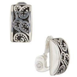 Napier Silver Tone Paisley Dome Clip On Earrings