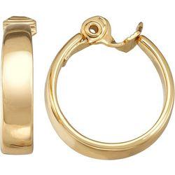 Napier Gold Tone Wide Hoop Clip Earrings