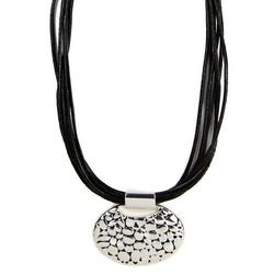 Jet Black 16'' Oval Pressed Detail Necklace