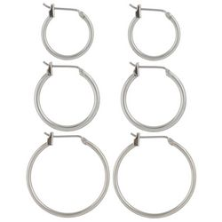Napier 3-pc. Polished Silver Tone Hoop Earring Set