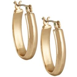 Napier Small Oval Gold Tone Click It Hoop Earrings