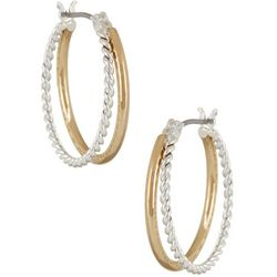 Napier Two Tone Dainty Hoop Earrings