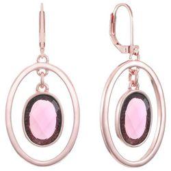 Gloria Vanderbilt Rose Orbital Oval Earrings