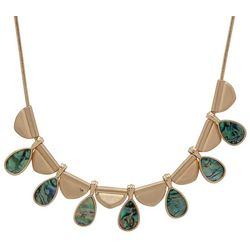 Chaps Abalone Teardrop Gold Tone Collar Necklace