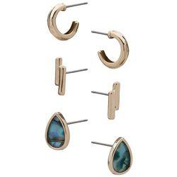 Chaps 3-Pc. Gold Tone Hoop Teardrop & Duo Bars Earrings Set