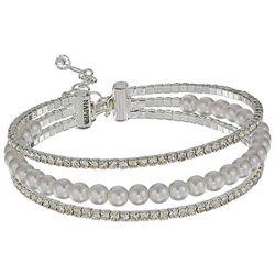 Napier Faux Pearl & Rhinestones Adjustable Cuff Bracelet