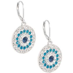 Gloria Vanderbilt  Turquoise Rhinestone Leverback Earrings