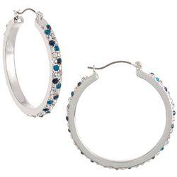 Gloria Vanderbilt Rhinestone Silvertone Hoop Earrings