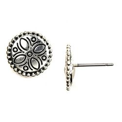 Napier Floral Pressed Detail Stud Earrings