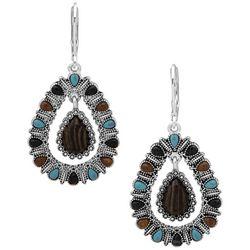 Chaps Silvertone Jeweled Teardrop Orbital Drop Earrings