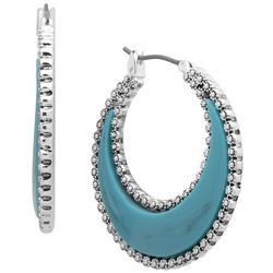 Silver Tone Turquoise Wide Hoop Earrings