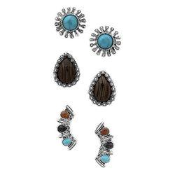 Chaps 3-Pc Silver Tone Boho Earrings