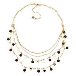 Chaps Gold Tone Four Row Shakey Necklace