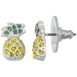 Napier Pineapple Rhinestone Post Earrings