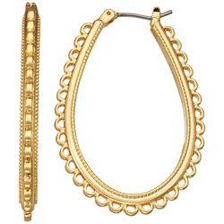 Napier Gold Tone Scallop Edge Hoop Earrings