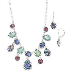 Napier Silver Tone Multi Abalone Necklace & Earring Set