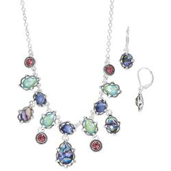 Silver Tone Multi Abalone Necklace & Earring Set