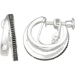 Napier Silver Tone Two Row Textured Clip On Earrings