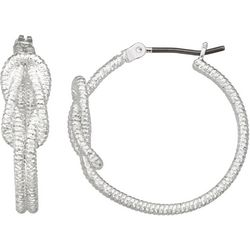 Napier Silver Tone Knotted Hoop Earrings