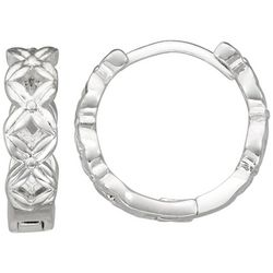 Napier Silver Tone Textured Small Hinged Hoop Earrings