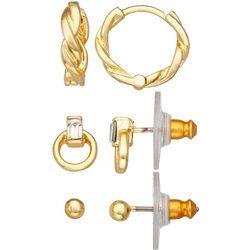 Napier Goldtone Twist Hoop Ring & Stud Earrings