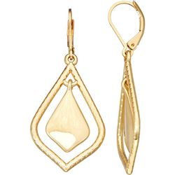 Napier Gold Tone Arabesque Orbital Drop Earrings