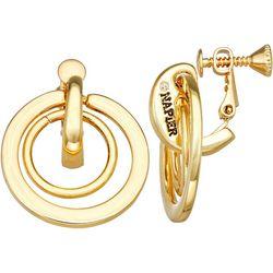 Napier Gold Tone Double Orbital Ring Clip On Earrings