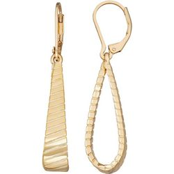 Napier Textured Gold Tone Loop Leverback Earrings