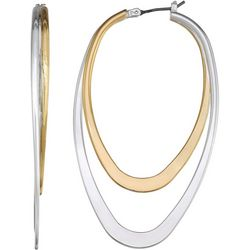 Napier Double Row Two Tone Hoop Earrings