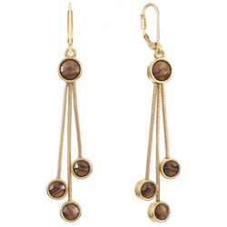 Chaps Gold Tone Triple Dangle Leverback Earrings