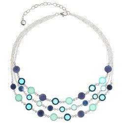 Gloria Vanderbilt 3 Row Teal Channel Bead Necklace