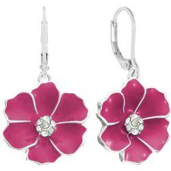 Gloria Vanderbilt Hibiscus Enamel Drop Earrings