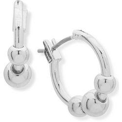 Chaps Silver Tone Bead Click It Hoop Earrings